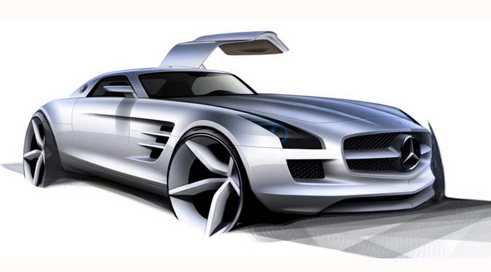 mercedes sls amg gullwing dessin int rieur et moteur plan te. Black Bedroom Furniture Sets. Home Design Ideas