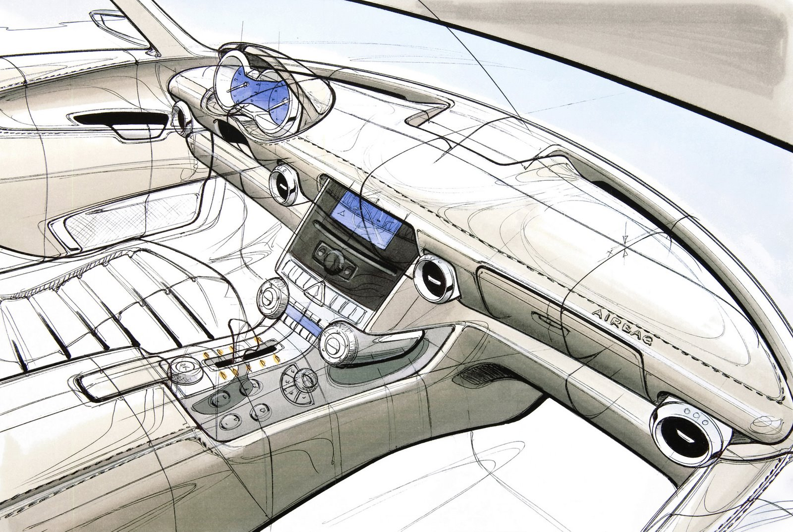 Mercedes sls amg gullwing dessin int rieur et moteur - Car interior design ...